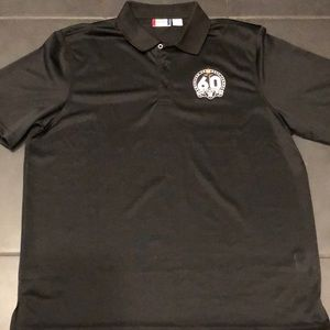 Raiders Black 60 Years Patch Polo Shirt Size XL